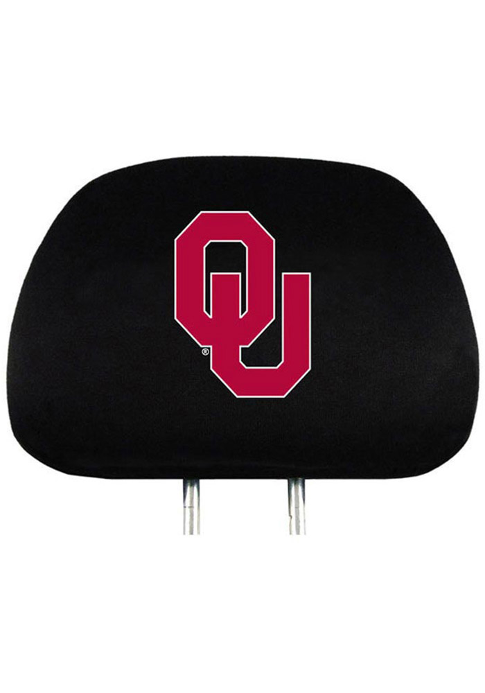 Oklahoma Sooners 2 Piece Black Auto Head Rest Cover - Image 1