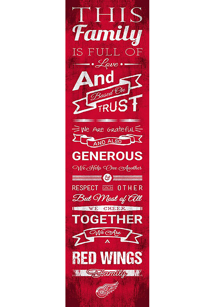 Detroit Red Wings 6x20 inch Family Cheer Sign - Image 1