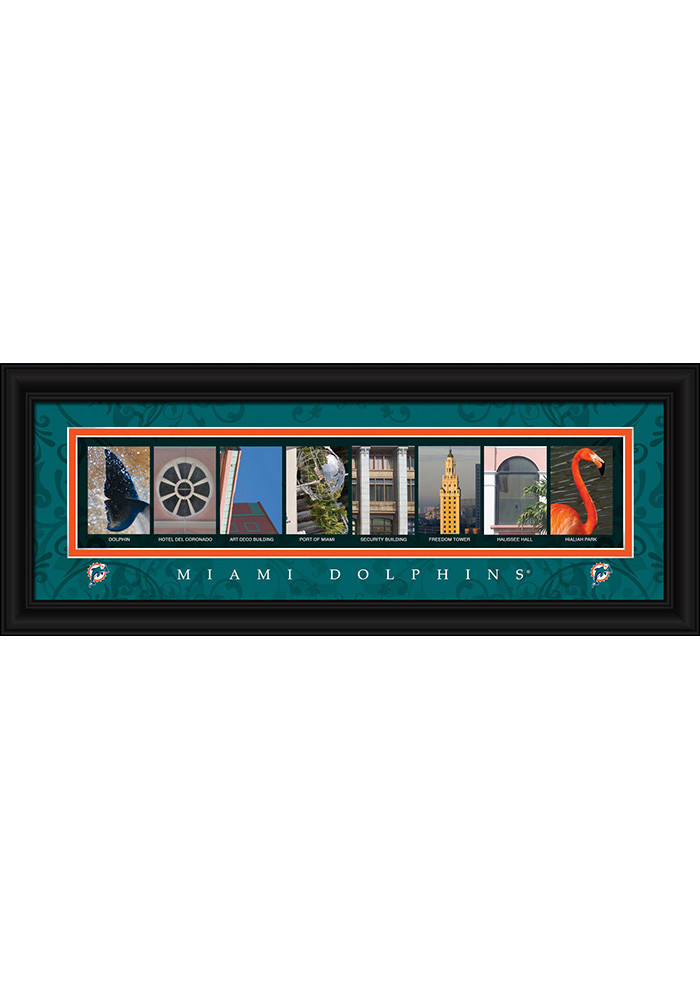 Miami Dolphins 8x20 framed letter art Framed Posters - Image 1