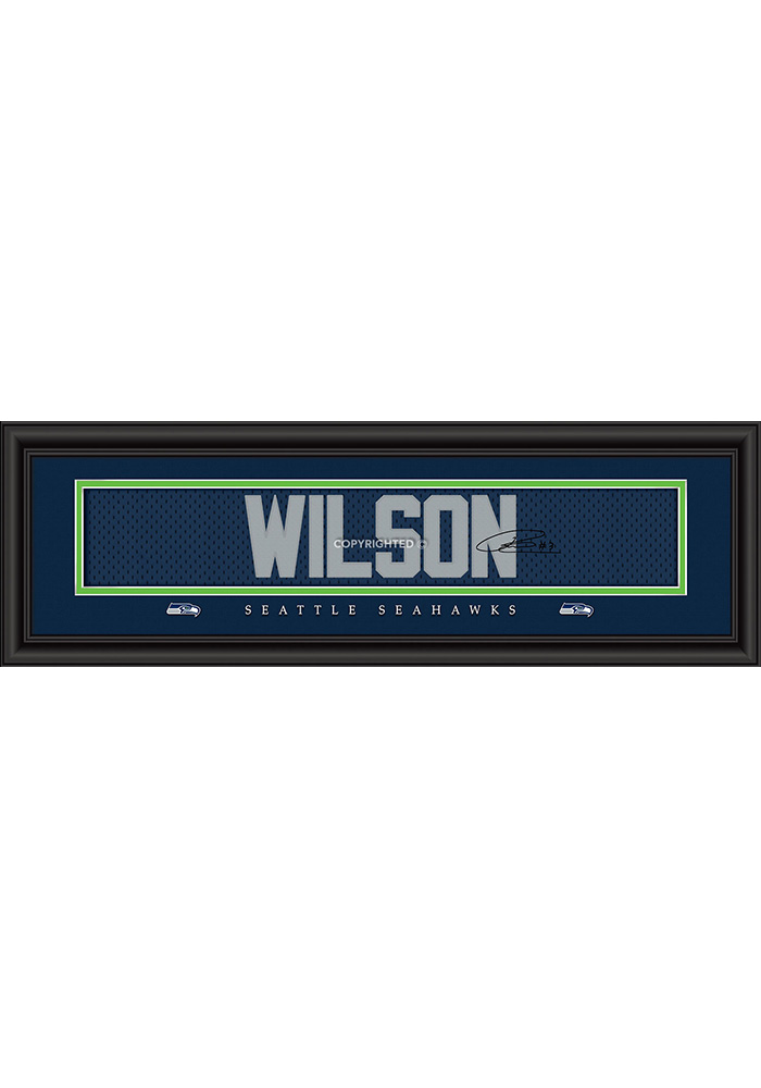 Russell Wilson Seattle Seahawks 8x24 Signature Framed Posters - Image 1