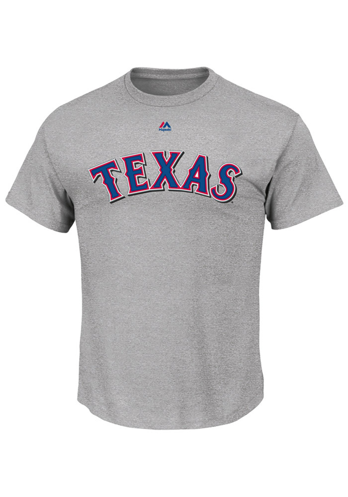 Majestic Texas Rangers Grey Wordmark Short Sleeve T Shirt - Image 1