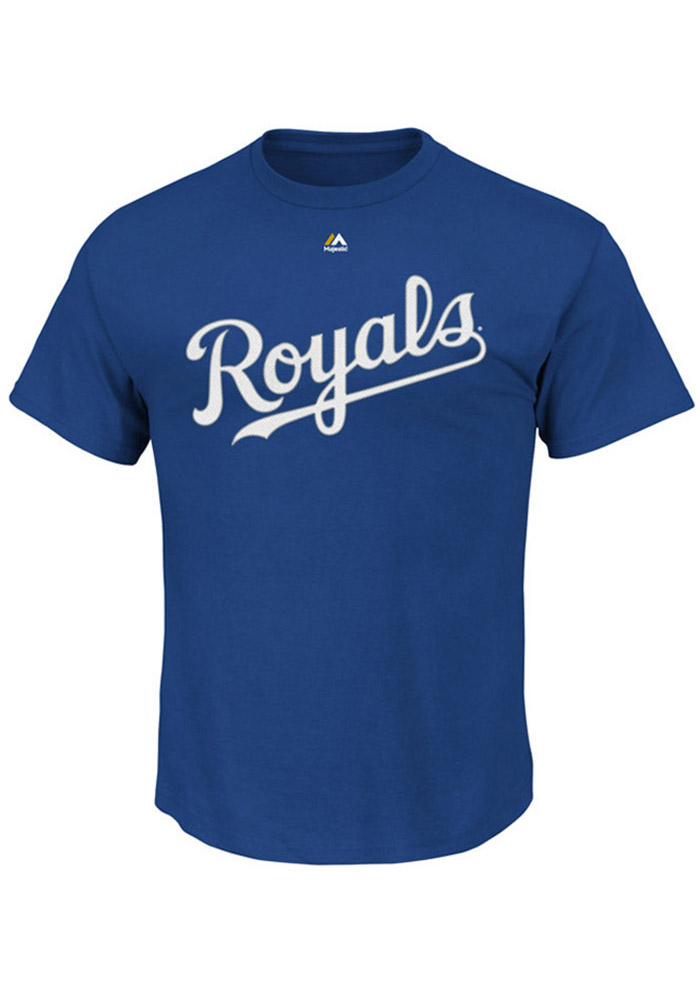 Majestic Kansas City Royals Blue Wordmark Short Sleeve T Shirt - Image 1