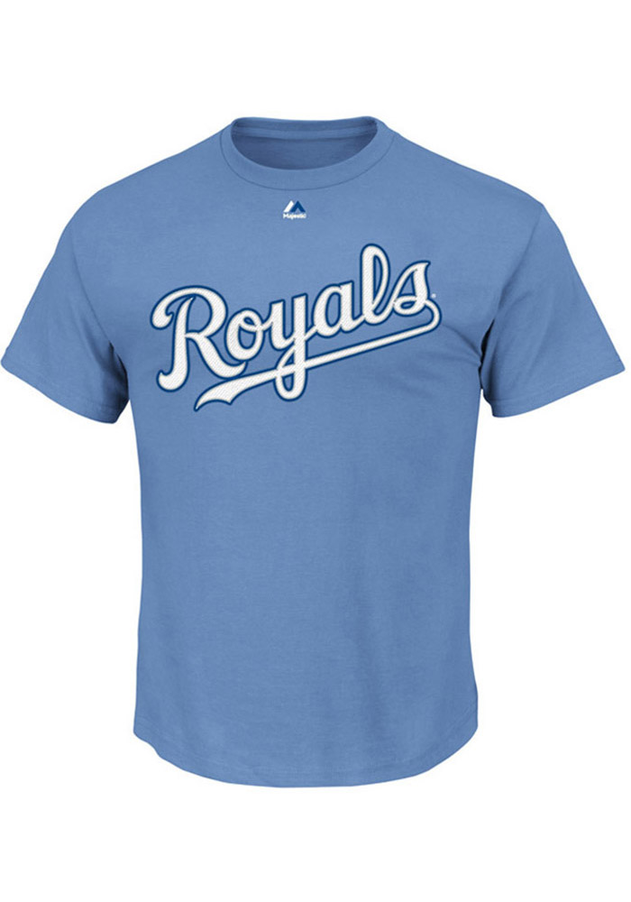 Majestic Kansas City Royals Mens Blue Wordmark Short Sleeve T Shirt - Image 1