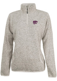 K-State Wildcats Womens Heathered Oatmeal 1/4 Zip Pullover