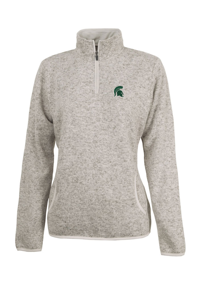Michigan State Spartans Juniors Oatmeal Heathered 1/4 Zip Pullover - Image 1