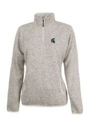 Michigan State Spartans Womens Heathered Oatmeal 1/4 Zip Pullover