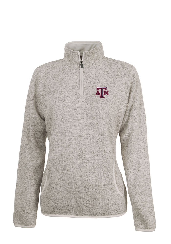 Texas A&M Aggies Womens Oatmeal Heathered 1/4 Zip Pullover - Image 1