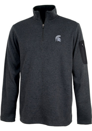 Michigan State Spartans Mens Grey Heathered 1/4 Zip Pullover