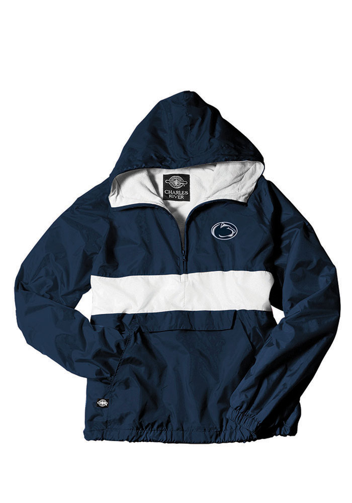 Penn State Nittany Lions Mens Navy Blue Classic Striped Pullover Jackets - Image 1