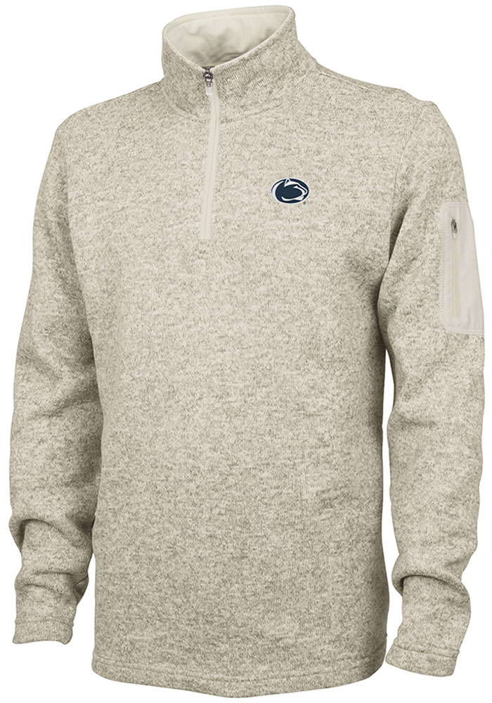 Penn State Nittany Lions Mens Oatmeal Heathered Long Sleeve 1/4 Zip Pullover - Image 1