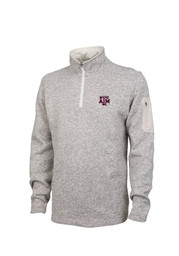 Texas A&M Mens Brown Heathered 1/4 Zip Pullover