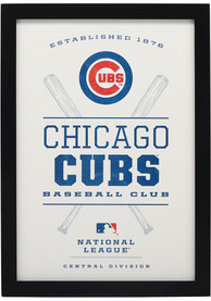 Chicago Cubs Framed Wood Wall Sign