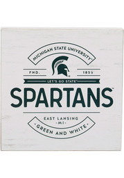 Michigan State Spartans White Deep Wood Block Sign