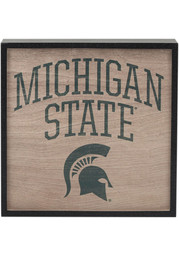 Michigan State Spartans Deep Wood Block Sign