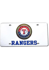 Texas Rangers Silver Inlaid Dome Car Accessory License Plate