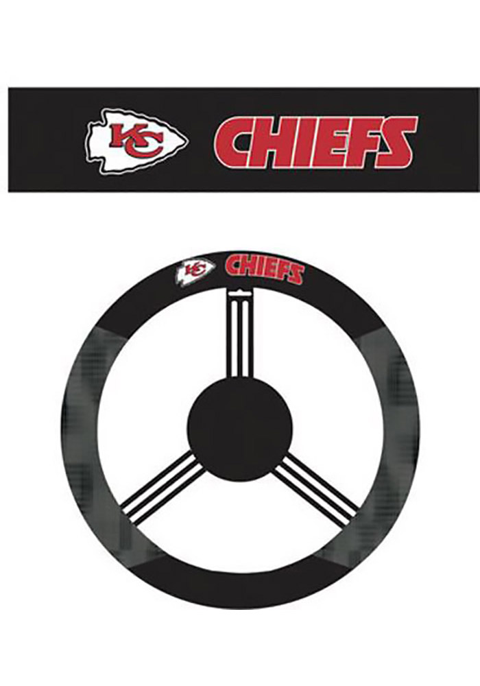 Kansas City Chiefs Poly-Suede Auto Steering Wheel Cover - Image 1