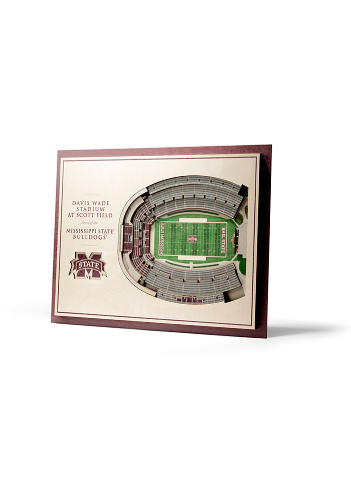Mississippi State Bulldogs 5-Layer 3D Stadium View Wall Art - Image 1