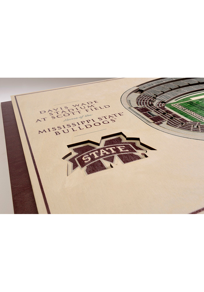 Mississippi State Bulldogs 5-Layer 3D Stadium View Wall Art - Image 3