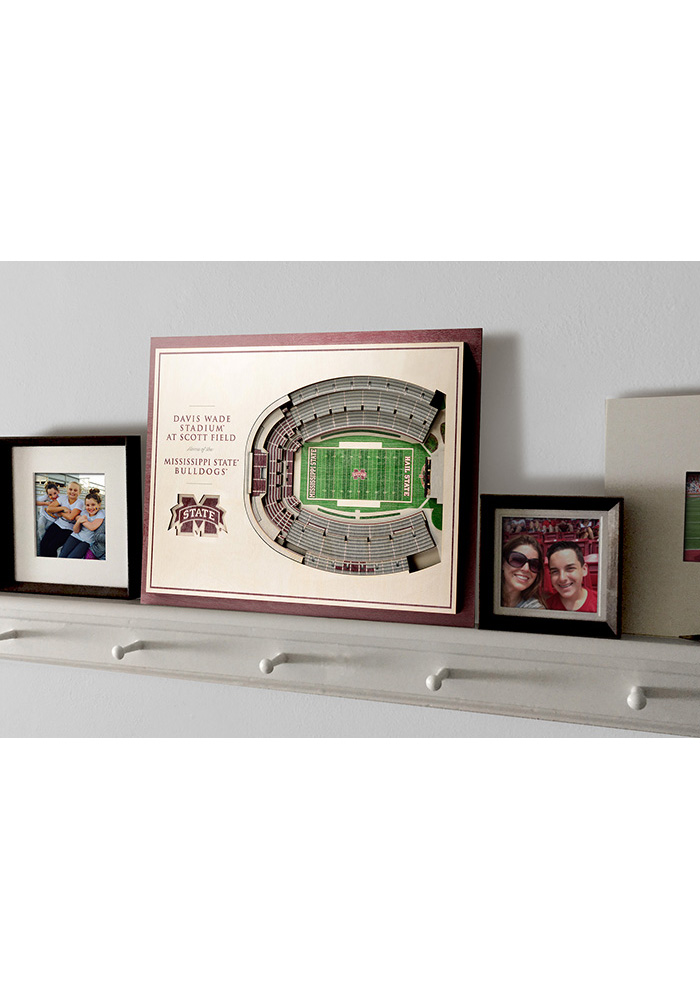Mississippi State Bulldogs 5-Layer 3D Stadium View Wall Art - Image 4