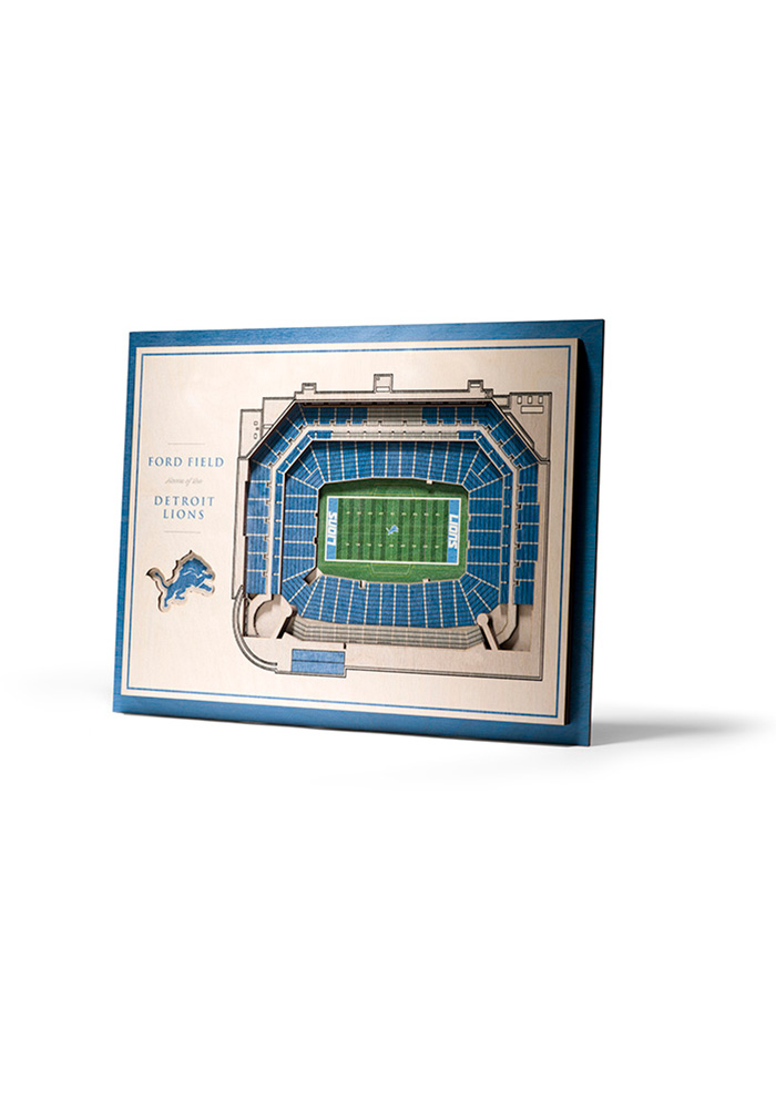 Detroit Lions 5-Layer 3D Stadium View Wall Art - Image 1