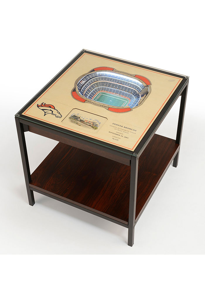 Denver Broncos 25-Layer Lighted StadiumView Brown End Table - Image 1