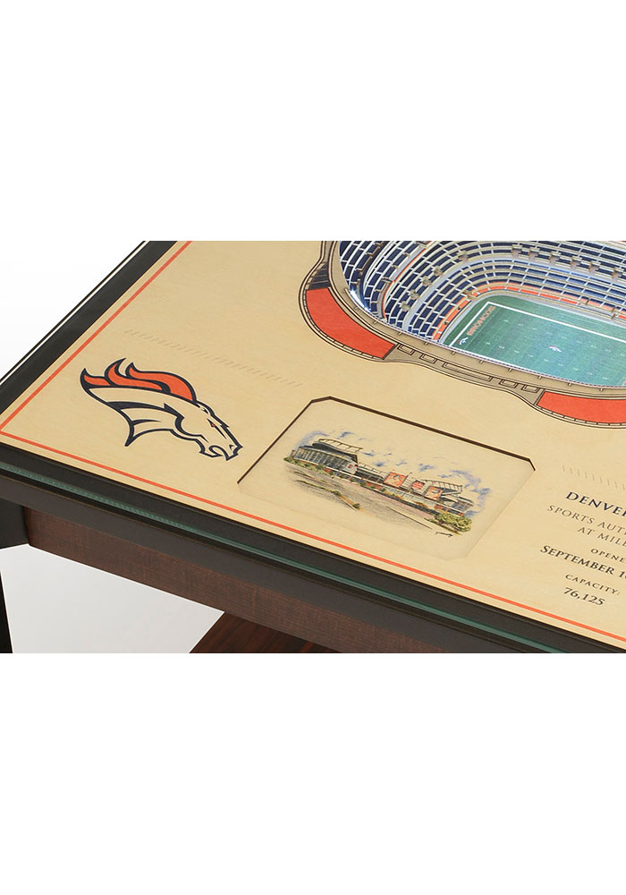 Denver Broncos 25-Layer Lighted StadiumView Brown End Table - Image 4