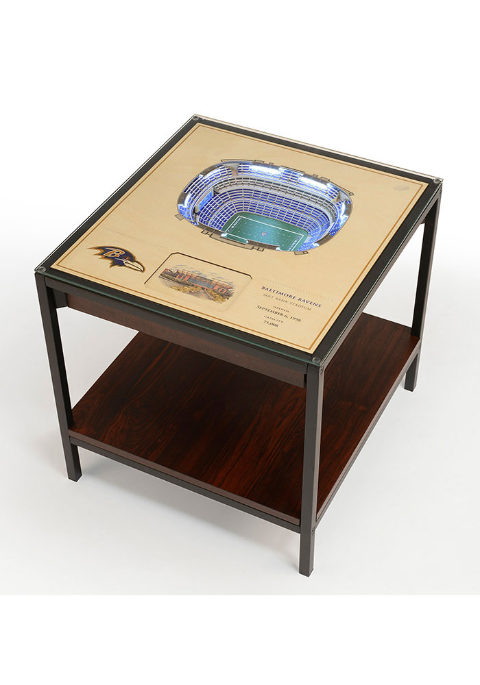 Baltimore Ravens 25-Layer Lighted StadiumView Brown End Table - Image 1