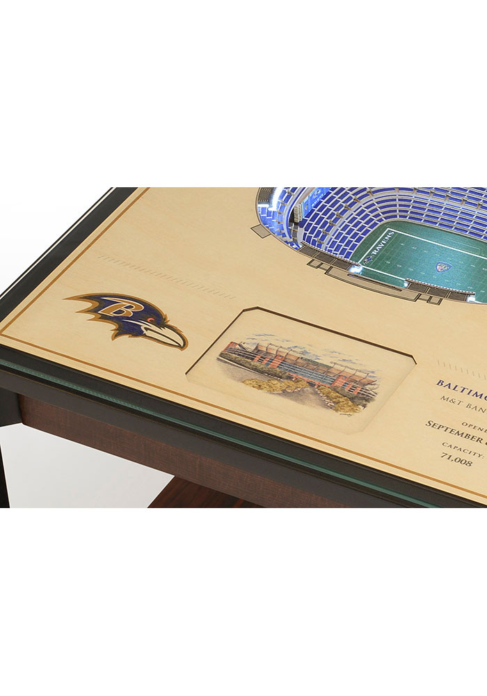 Baltimore Ravens 25-Layer Lighted StadiumView Brown End Table - Image 4