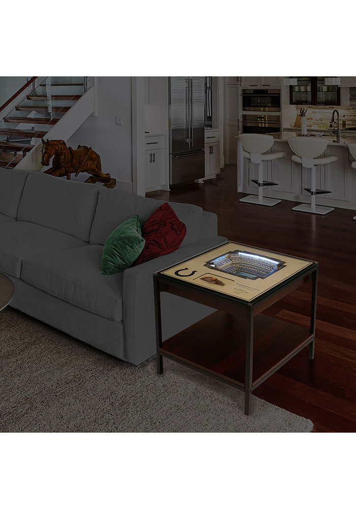 Indianapolis Colts 25-Layer Lighted StadiumView Brown End Table - Image 2