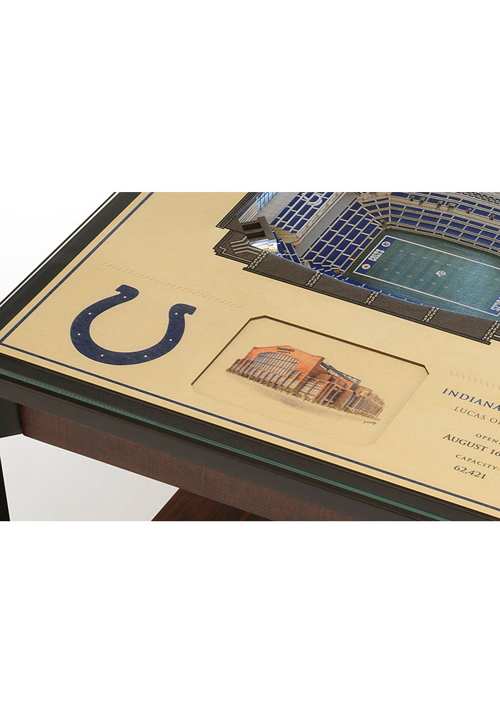 Indianapolis Colts 25-Layer Lighted StadiumView Brown End Table - Image 4