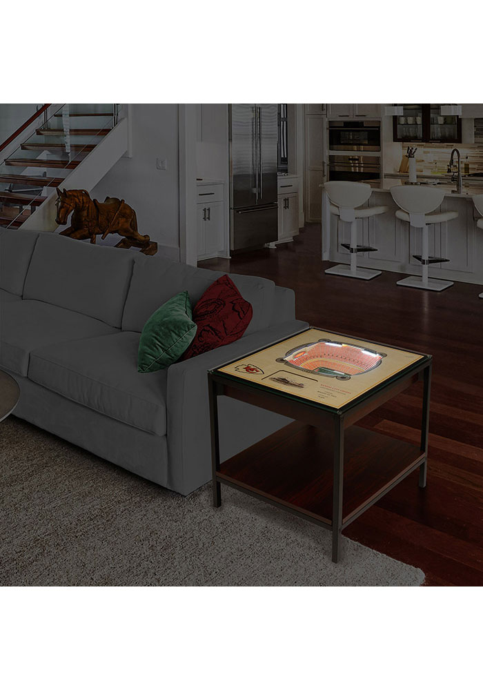 Kansas City Chiefs 25-Layer Lighted StadiumView Brown End Table - Image 2