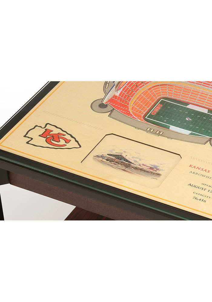 Kansas City Chiefs 25-Layer Lighted StadiumView Brown End Table - Image 4