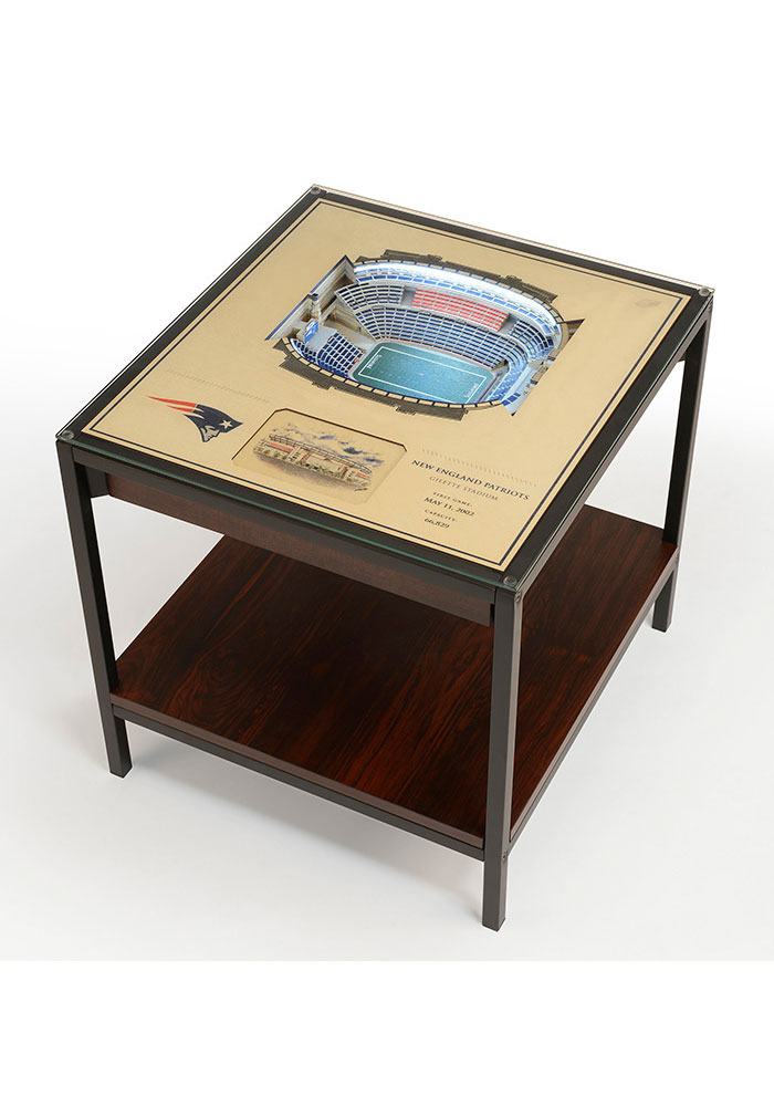 New England Patriots 25-Layer Lighted StadiumView Brown End Table - Image 1