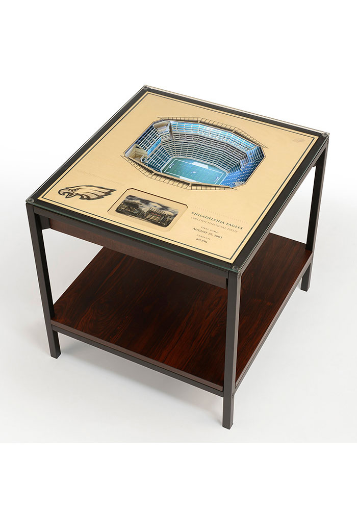 Philadelphia Eagles 25-Layer Lighted StadiumView Brown End Table - Image 1