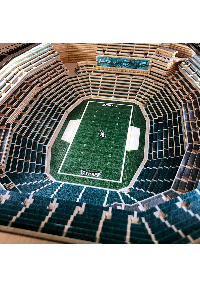 Philadelphia Eagles 25-Layer Lighted StadiumView Brown End Table - Image 3