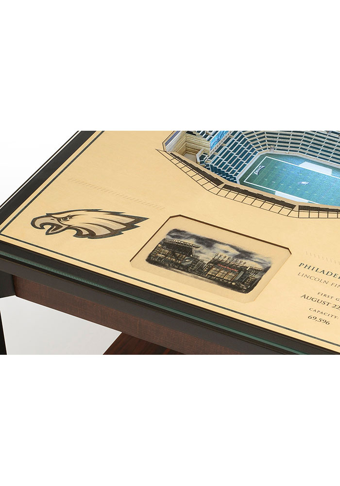 Philadelphia Eagles 25-Layer Lighted StadiumView Brown End Table - Image 4