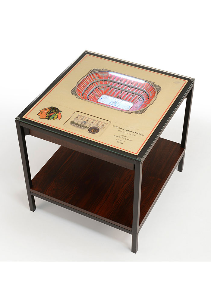 Chicago Blackhawks 25-Layer Lighted StadiumView Brown End Table - Image 1