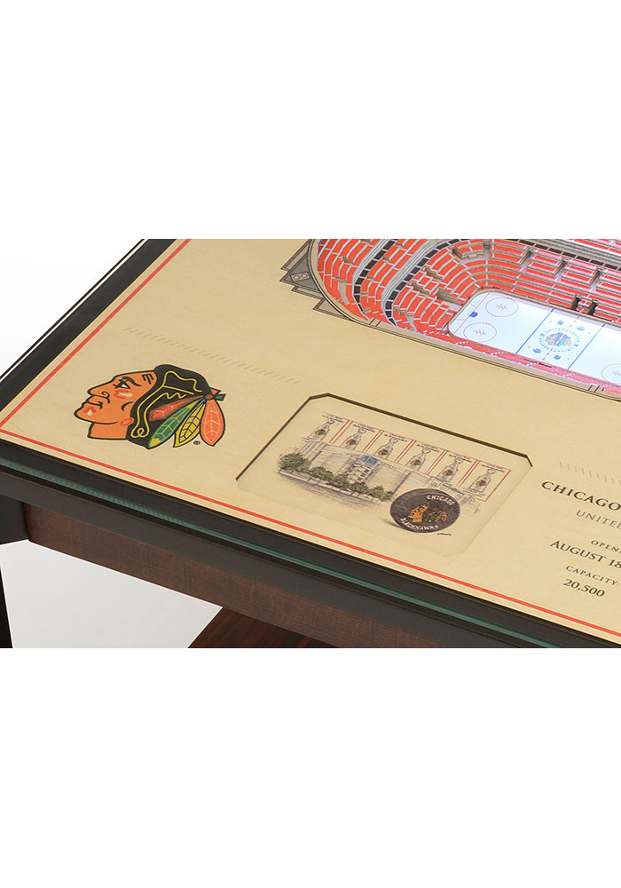 Chicago Blackhawks 25-Layer Lighted StadiumView Brown End Table - Image 4