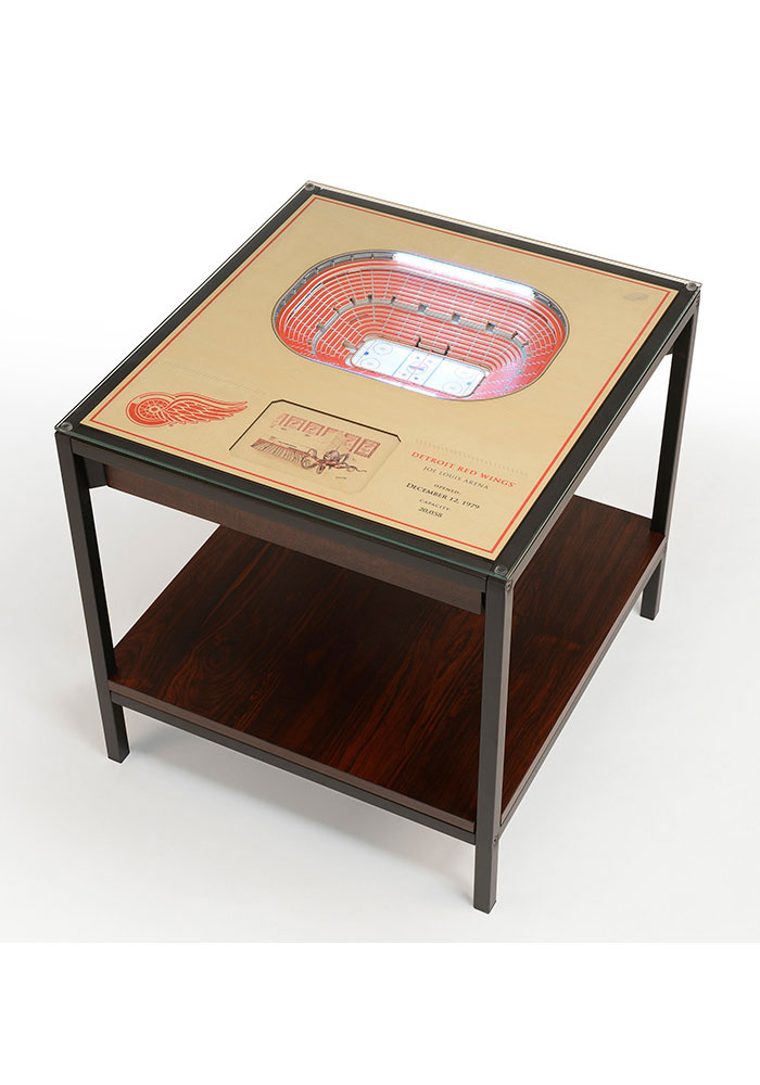 Detroit Red Wings 25-Layer Lighted StadiumView Brown End Table - Image 1