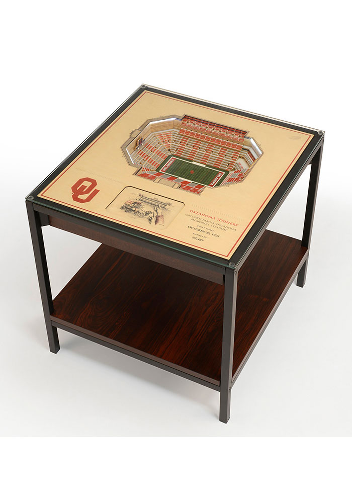 Oklahoma Sooners 25-Layer Lighted StadiumView Brown End Table - Image 1