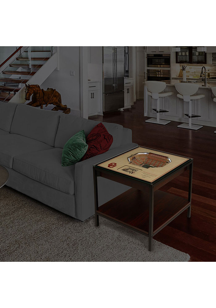 Oklahoma Sooners 25-Layer Lighted StadiumView Brown End Table - Image 2