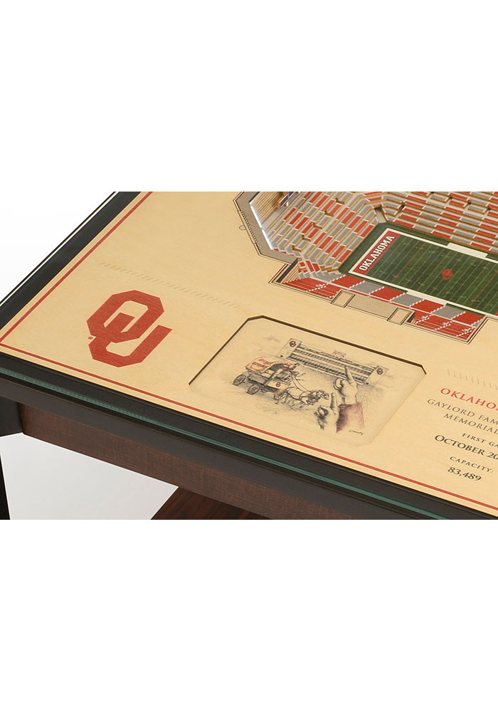 Oklahoma Sooners 25-Layer Lighted StadiumView Brown End Table - Image 4
