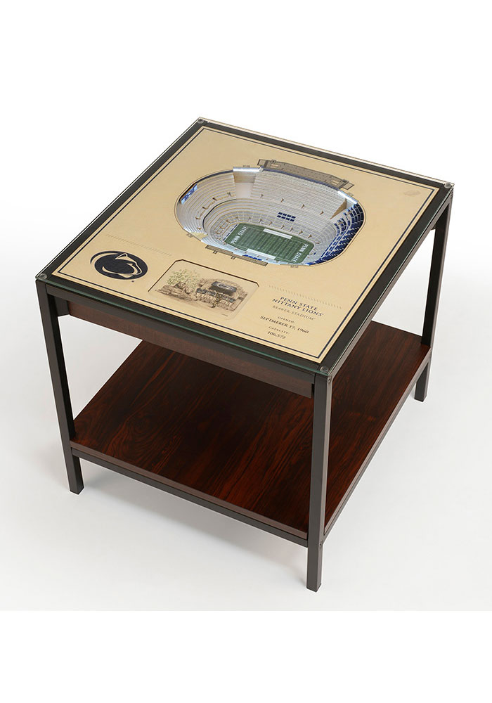 Penn State Nittany Lions 25-Layer Lighted StadiumView Brown End Table - Image 1