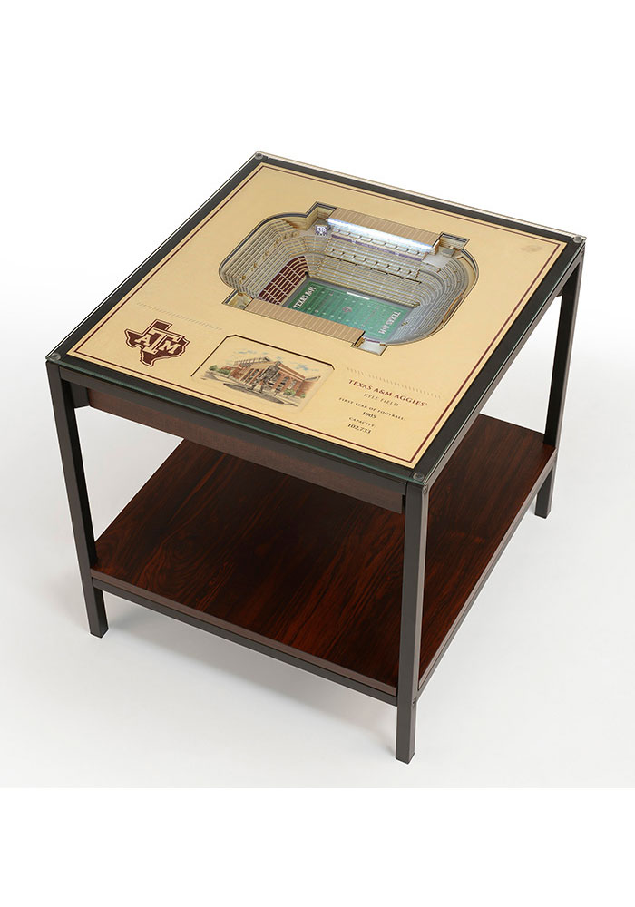 Texas A&M Aggies 25-Layer Lighted StadiumView Brown End Table - Image 1
