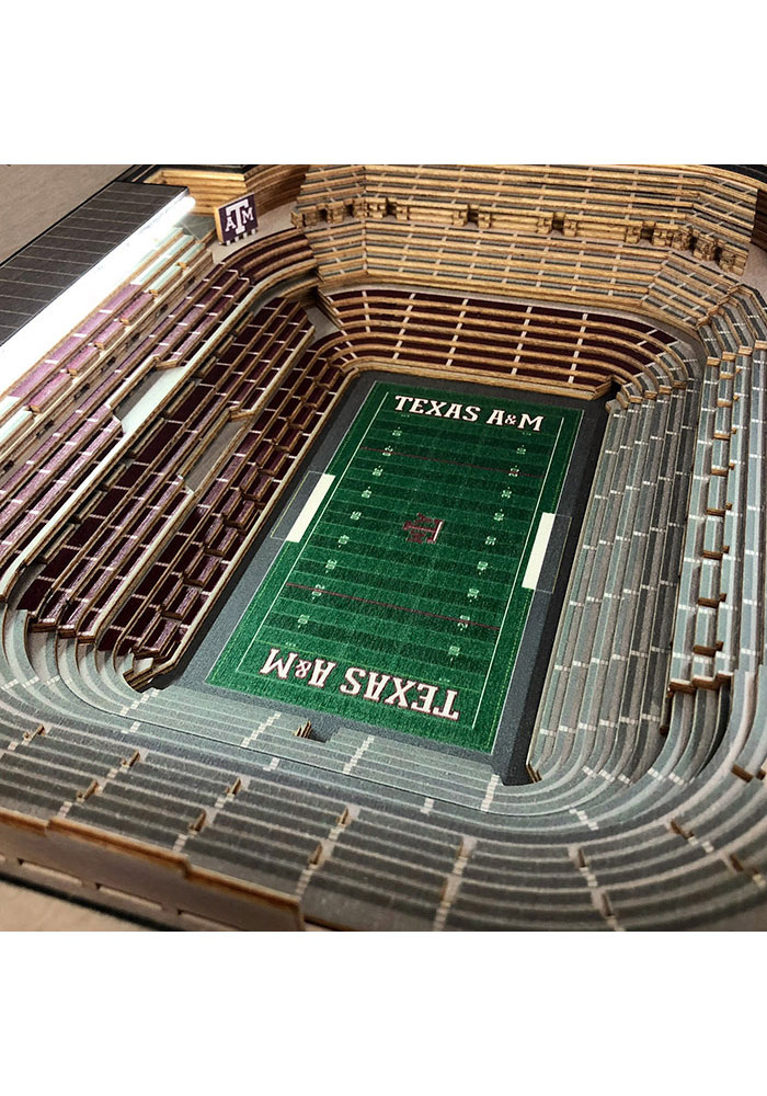 Texas A&M Aggies 25-Layer Lighted StadiumView Brown End Table - Image 3