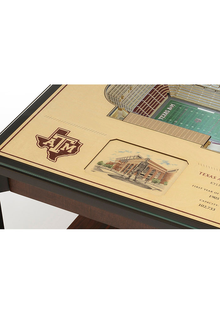Texas A&M Aggies 25-Layer Lighted StadiumView Brown End Table - Image 4