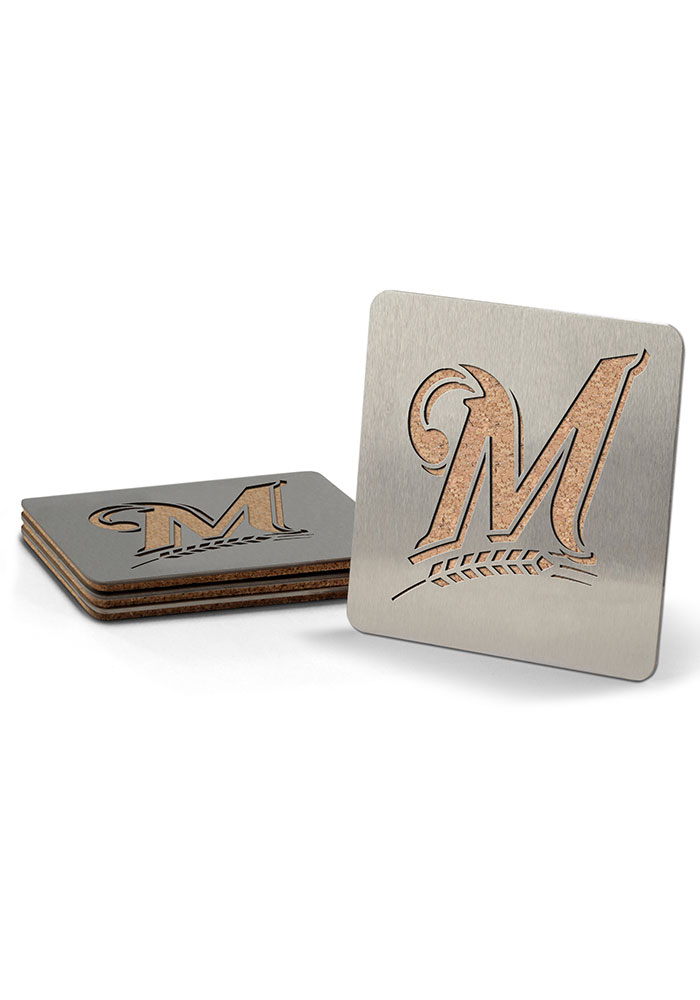 Milwaukee Brewers 4 Pack Stainless Steel Boaster Coaster - Image 1