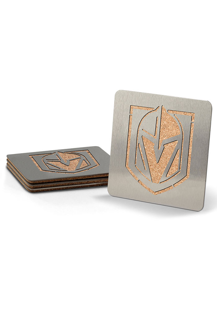 Vegas Golden Knights 4 Pack Stainless Steel Boaster Coaster - Image 1
