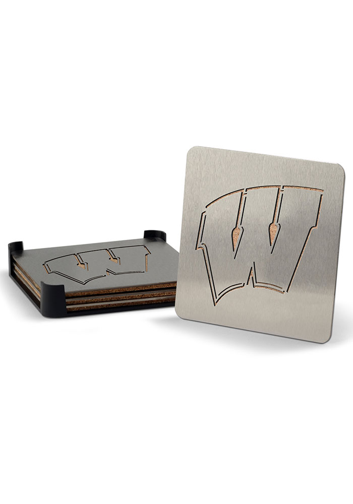 Wisconsin Badgers 4 Pack Stainless Steel Boaster Coaster - Image 1