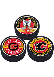 Calgary Flames 3 Pack Collectible Hockey Puck